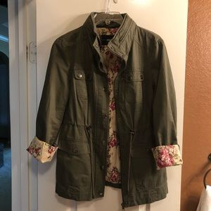 BNCI   army green - floral lined jacket / Size M